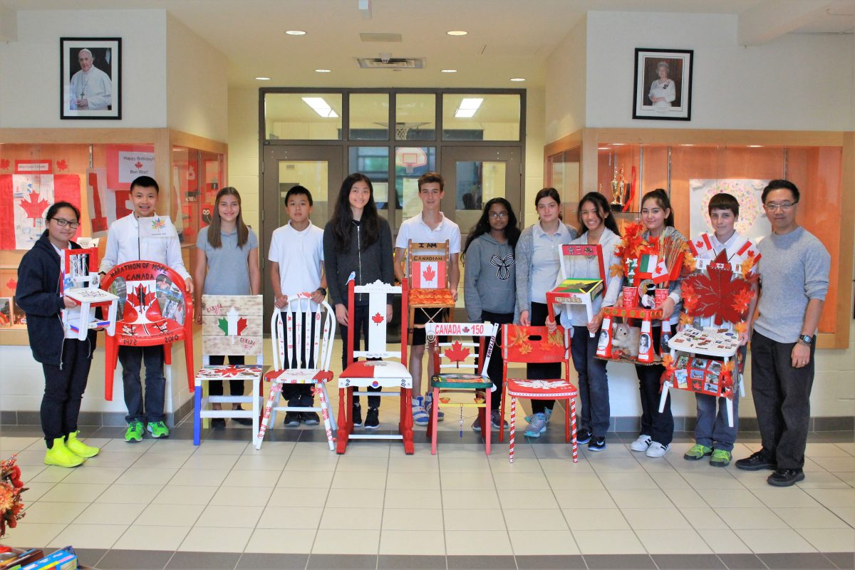 Grade 8 Chairs displayed at the YCDSB Board Office